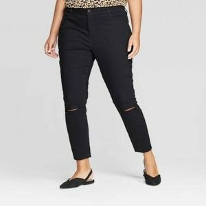 Ava & Viv Skinny Ankle Jeans Black Knee Slits Raw